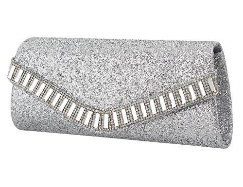 Shiny Handbag Rhinestone for Wedding Studded Womens Party Silver Gabrine Clutch Prom Bag Crystal Sequins Evening xSXtfqR