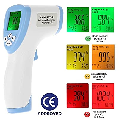 Rayverstar Non-Contact Infrared (IR) Forehead Medical Thermometer for Baby, Kid, or Adult, Instant Read in °F or °C, Color Digital Display, Fever Indicator, Memory Storage, Surface Mode, CE Approved