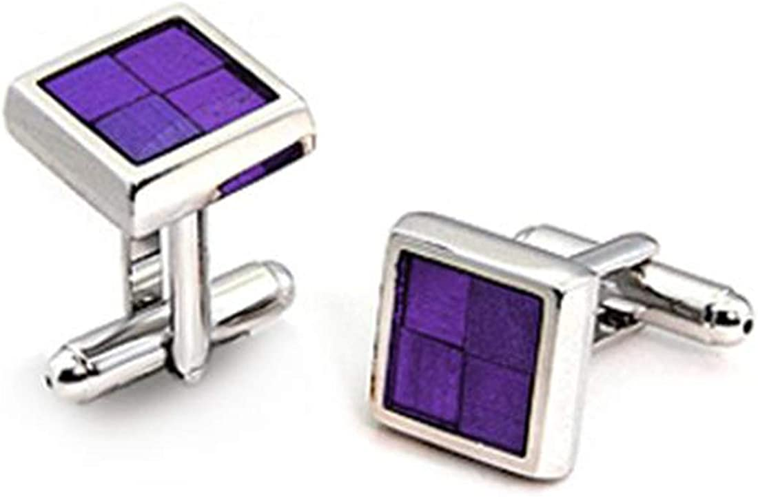 Drop of Silver Purple Epoxy Rhodium Plated Square Cuff Links, February Birthstone