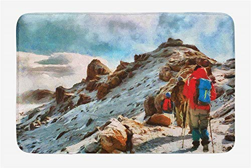 Supescas-Mountain Bath Mat, Group of Trekkers Hiking Among Snows of Kilimanjaro in Winter in Painting Style, Plush Bathroom Decor Mat with Non Slip Backing, 30 L X 18 W Inches, Multicolor-G0941 -