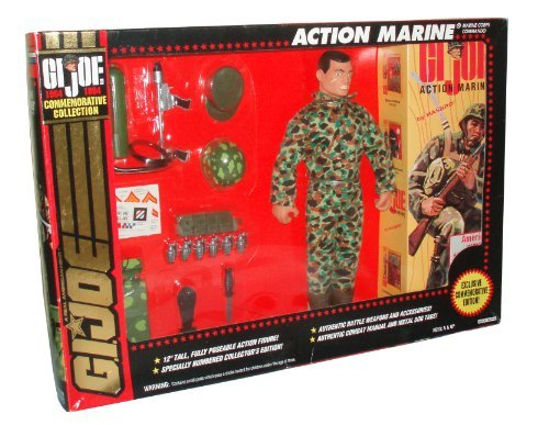 GI Joe Year 1994 Exclusive Commemorative Collection Edition 30 Year Anniversary 12 Inch Tall Fully Poseable Soldier Action Figure - Marine Corps Commando ACTION MARINE with Marine Uniform, Hat, Helmet, Belt with Pouches, 6 Grenades, Knife with Sheath, Radio Pack and Flamethrower Pack Plus Bonus Sticker (Hispanic Version)