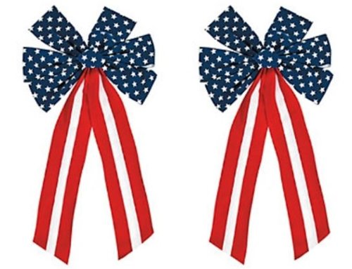 Patriotic Bows - 2 Pack Red White and Blue Patriotic bow Decorations 23 Inch