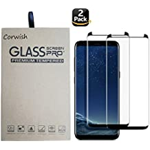 2 Pack Galaxy S8 Plus Screen Protector , 3D Curved Edge To Edge Case Friendly Full Coverage HD Clear Tempered Glass Protective Film Cover for Samsung S8+ Phone ( For S 8+, not for S 8 ) (Black-2)