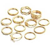 Mandystore 12Pcs Women's Boho Crystal Flower Knuckle Ring Rings for Girls Tibetan Turkish Ring Set
