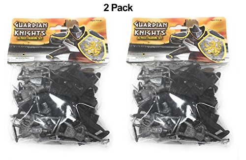 Toysmith 36-Piece Guardian Warrior Knights Toy Action Figure Set (2-Packs of 36)
