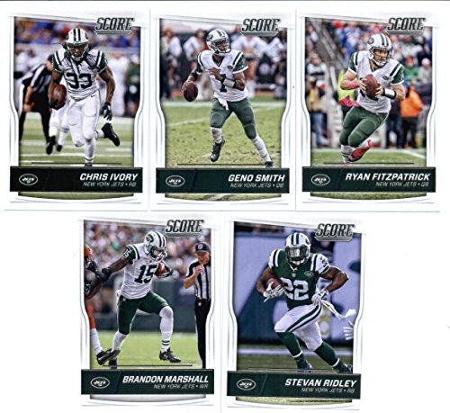 2016 Score New York Jets Veterans Team Set of 10 Football Cards: Ryan Fitzpatrick(#219), Geno Smith(#220), Chris Ivory(#221), Stevan Ridley(#222), Brandon Marshall(#223), Eric Decker(#224), Jeremy Kerley(#225), Muhammad Wilkerson(#226), Devin Smith(#227), David Harris(#228) in Protective Snap Case