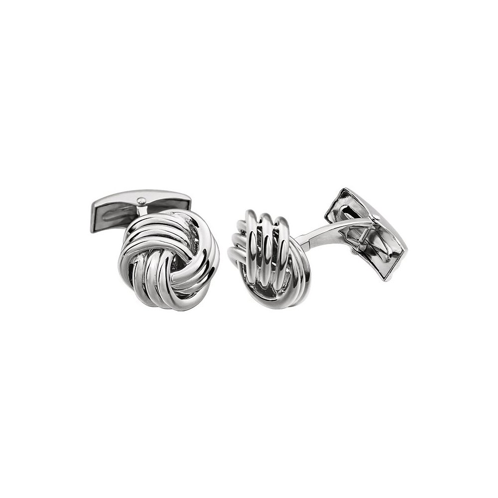 Men's 14k White Gold 15mm Polished Knot Cuff Links