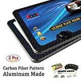 #1: Carbon Fiber License Plate Frame (Black Metal) with Extra Stainless Steel Anti-theft Screws 45 Kit, EASY INSTALL(2Pcs-2Holes)