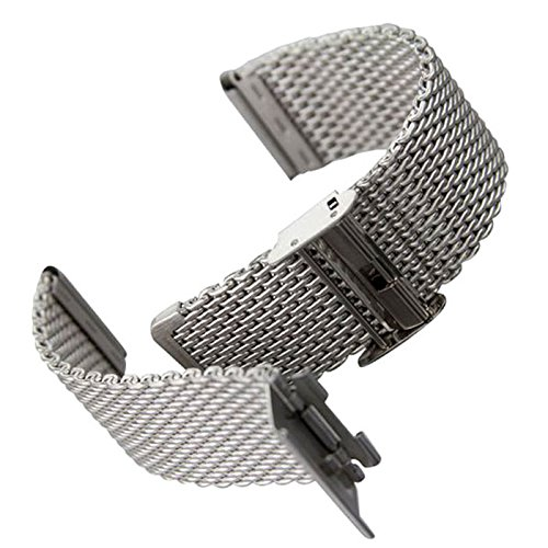 YISUYA 20mm Solid Milanese Mesh Stainless Steel Strap with Hook Buckle Classic Polished Silver Watch Band Straps 2.0cm by YISUYA (Image #5)