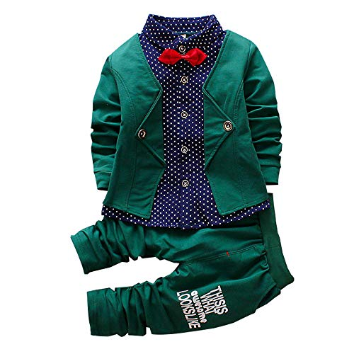 2pcs Baby Boy Dress Clothes Toddler Outfits Infant Tuxedo Formal Suits Set Shirt + Pants (Green,24M) ()