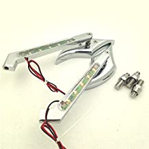 HK Motorcycle Chrome Diamond Shape LED Turn Signal Integrate Mirrors Fit all Harley-Davidson Models Softail Fat Boy Road King Dyna Wide Glide Springer Sportster XL