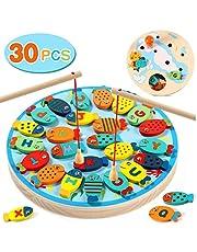 Lewo Fiske Spel 30 St Trä Magnetiska Alfabet Brev Fiske Leksaker för 3 4 5 år Gamla Flickor Pojkar Barn Småbarn Födelsedag Lära Sig Pedagogiska Leksaker med Magnetstänger