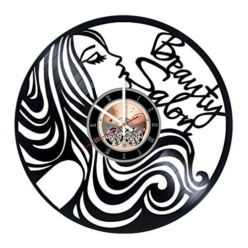 choma Beauty Salon Girls Vinyl Record Wall Clock - Bathroom wall decor - Gift ideas for girls, women, sister – Beautiful Unique Art Design