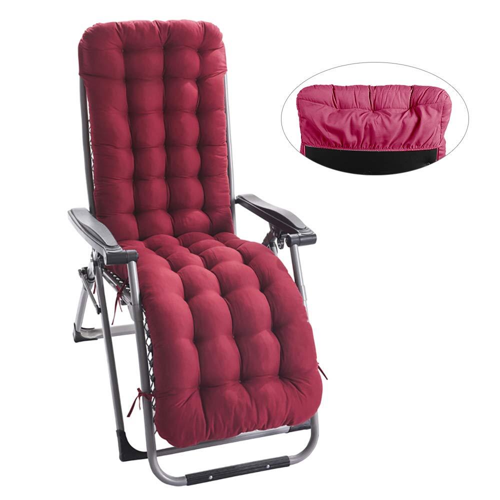 Hootech Chaise Lounge Cushion with Cap Patio Chair Cushions Outdoor Mattress 67 Inch for Garden Sun Lounger Recliner Indoor Veranda,Red