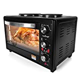 NutriChef PKRTO28 Multifunction Kitchen Oven-Countertop Rotisserie Cooker with Dual Hot Plates, Black