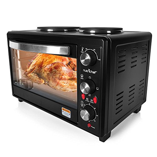 Updated Premium Version Multifunction Grill Oven, Dual Hot Plate, Toaster Oven w/ Rotisserie, Grill/Griddle Top, Countertop Convection Oven, w/ Wire Grill Rack, Baking Tray, Skewers, Tray Handles
