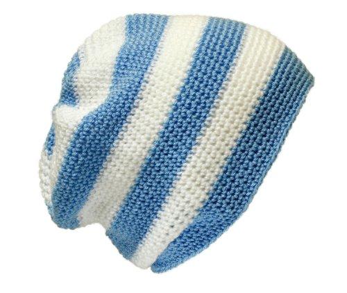 Gorro de ganchillo unisex Crochet Baggy Beanie: Blanco, Azul