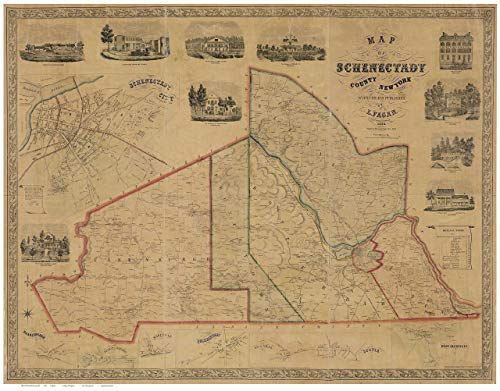 Schenectady County New York 1856 - Wall Map with Homeowner Names - Old Map Reprint ()