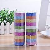 JETTINGBUY 10X Glitter Washi Paper Adhesive Tape DIY Craft Sticker (Color Random)