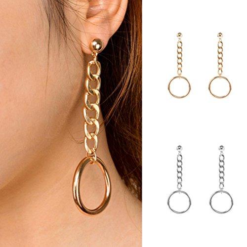 Sinwo Women Fashion Alloy Chain Geometry Ear Clip Jewelry Tassel Ear Stud Earrings Gift - Charming Earring Green Jade