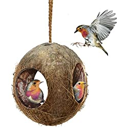 SunGrow Coco Bird Hut- Natural Coconut Shell Bird House and Bird Food Dispenser