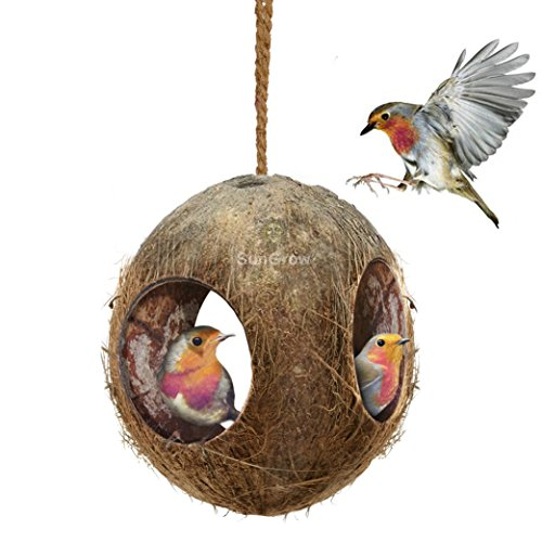 3-Hole Coco Bird Hut - Perfect for hiding millet and nesting material - Birdhouse makes for mini condo - Charming Natural Home Decor - Hang food dispenser in a tree in front yard or patio