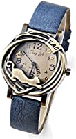 Sanwood Women's Fashion Vintage Bronze Case Cat & Flower Quartz Analog Wrist Watch (Blue)