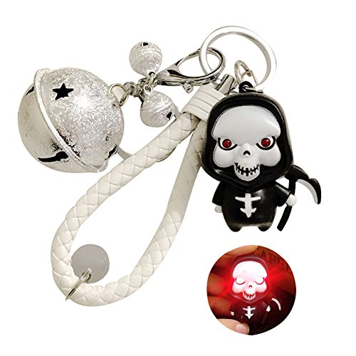 (TSJ Grim Reaper Imp Figure Detachable Key Ring LED Scary Sound Toys Lobster Clasp Keychain with Jingle Bells for Halloween Gifts )