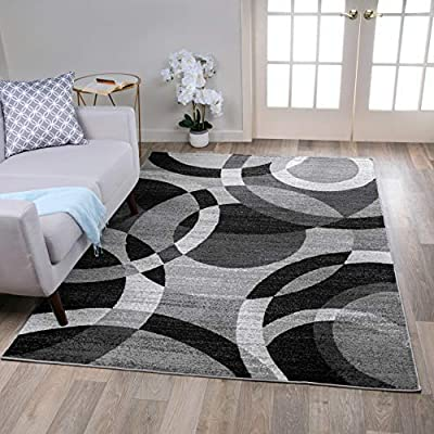 Rugshop Contemporary Modern Circles Abstract Area Rug