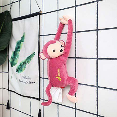 Creative PIPI Monkey Tissue Box Tissue Holder,Cute Toy Cartoon Animal Tissue Paper Holder Case for Car Home Bathroom Kitchen Office (Pink)