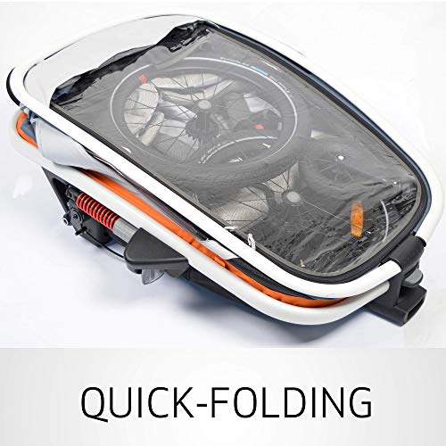 51 AkIYFPSL - Hamax Outback Reclining Multi-Sport Child Bike Trailer + Stroller - 2020 Model (Jogger Wheel Sold Separately) (Navy/White, One Seat)