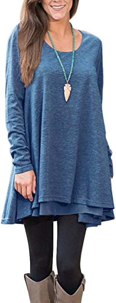 FeelinGirl Mujer Blusa y Falda Mangas Largas Camisetas con Volantes Encaje