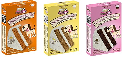 - Puppy Cake 3 Pack Variety (Cake Mix and Frosting) Dog Snacks, Dog Treats, 1-Peanut Butter, 1- Banana, and 1-Carob Cake Mix (Fast Free Delivery)