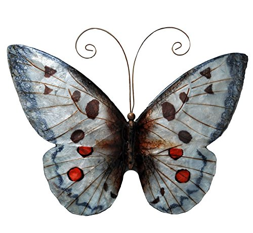 Hand-painted Red/ White Metal and Capiz Butterfly Metal Wall Art, Indoor Outdoor Wall Art, This Is a Piece of Beautiful Wall Art Decor (Handmade Hand Painted in Philippines)