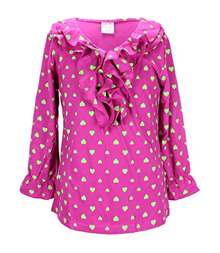 S.W.A.K. Girls hearts allover Print Long Sleeve Fashion Top Size 14/16- Fuchsia by S.W.A.K.