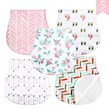 Baby Burp Cloths 5 Pack - Triple Layer 100% Organic Cotton Thick Soft and Absorbent Towels, Burping Rags for Newborns Baby Shower Gift Set by AiKiddo