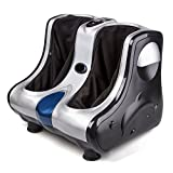 Foot massager calf massage with Shiatsu Kneading Rolling Vibration Heating Function (silver)