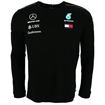Mercedes Amg F1 Team Driver Puma Long Sleeve T Shirt Black Official