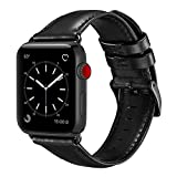 OUHENG Compatible with Apple Watch Band 42mm 44mm, Genuine Leather Band Replacement Compatible with Apple Watch Series 4 Series 3 Series 2 Series 1 (42mm 44mm) Sport and Edition, Black