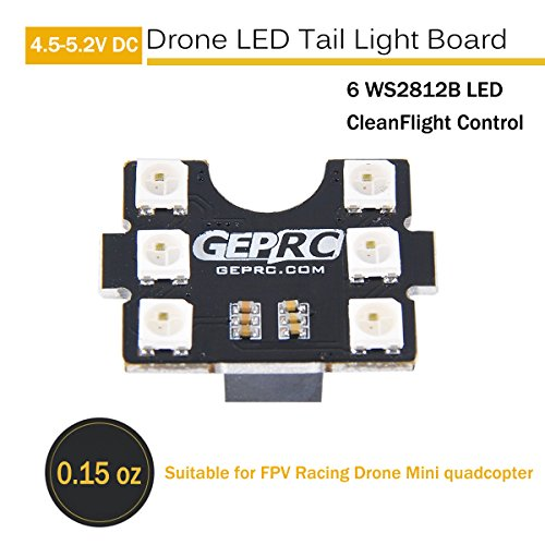 ZCGC Drone LED Tail Light Board Lamp 6 WS2812B LED with Lost Buzzer Compatible with F3 F4 Naze32 Flight Controller Suitable for FPV Racing Drone Mini quadcopter