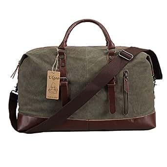 Ulgoo Travel Duffel Bag Canvas Bag PU Leather Weekend Bag Overnight (Amy Green)