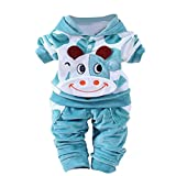 Baby Outfit Set,Clode Newborn Baby Girls Boys Cartoon Cow Warm Outfits Clothes Velvet Hooded Tops Set Autumn Winter Clothes for 0-24 Months (6-12 Months, Pink)