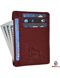 Front Pocket Slim Wallets for Men with RFID - Genuine Leather Handmade Minimalist Credit Card Holder Gift Box By Estalon