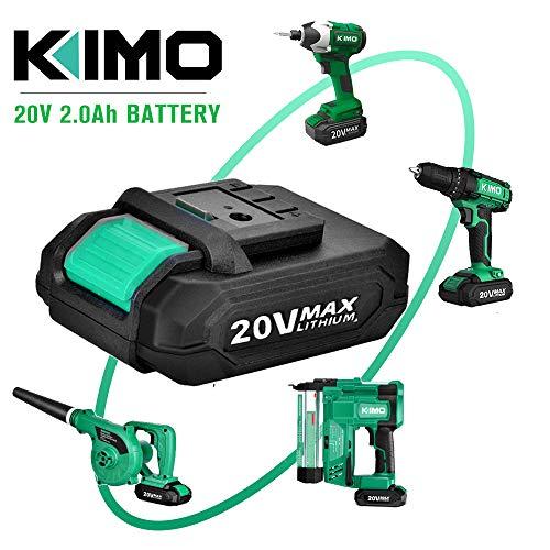 KIMO 20V 2.0Ah Lithium-Ion Battery for KIMO 20V Drill Driver, Leaf Blower, Angle Grinder, Reciprocating Saw, Oscillating Tool, Brad Nailer - Safety Protection Tech, Share Battery for KIMO 20V Tools