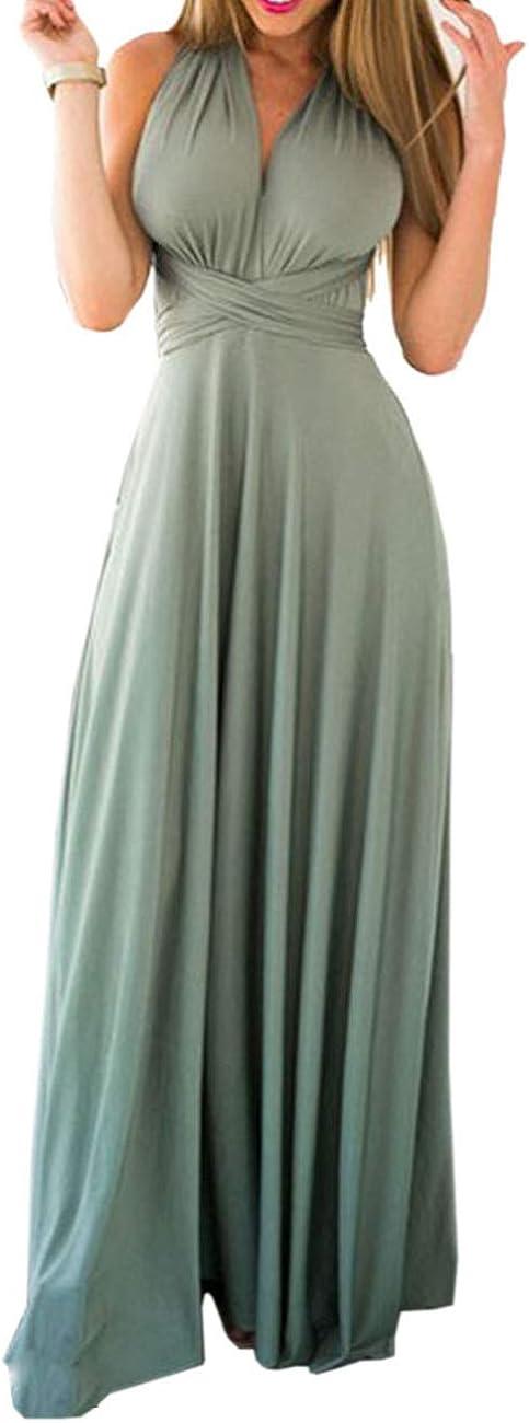 TALLA XL. EMMA Mujeres Falda Larga de Cóctel Vestido de Noche Dama de Honor Elegante sin Respaldo Verde Claro XL