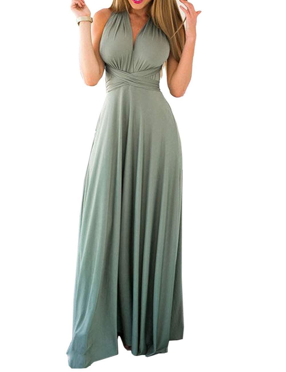 TALLA S. EMMA Mujeres Falda Larga de Cóctel Vestido de Noche Dama de Honor Elegante sin Respaldo Verde Claro S