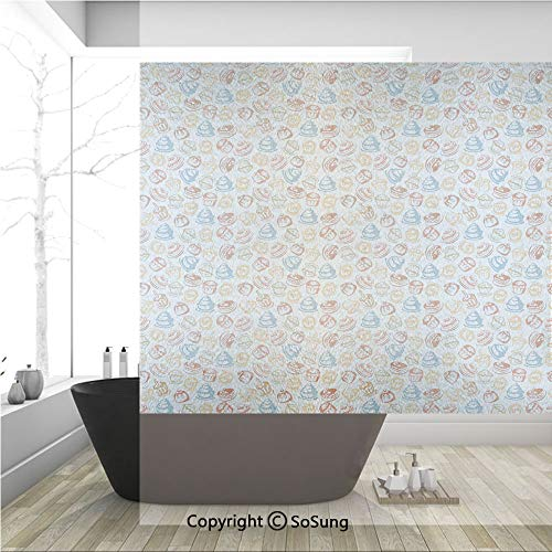 3D Decorative Privacy Window Films,Cupcakes Cakes Creams Cherries Candles Artwork Image Print,No-Glue Self Static Cling Glass Film for Home Bedroom Bathroom Kitchen Office 36x36 Inch (Cream Opal Etched Glass)
