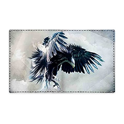 JIUDUIDODO Custom Animal series of Eagles Women Men's Leather Flipout Slim ID Wallet Bifold Hybrid (The Lion King 3d Blu Ray)