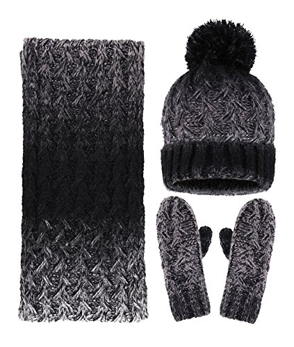 Arctic Paw Adult 3 Piece Winter Bundle - Beanie Scarf and Mitten Set, Black/Grey
