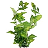Jardin Plastic Faux Leaves Plant Aquarium Decoration, 21.5-Inch High, Green